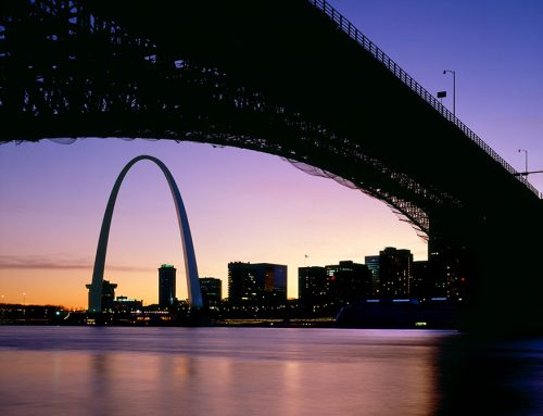 The Arch and Ead's Bridge, Sunset