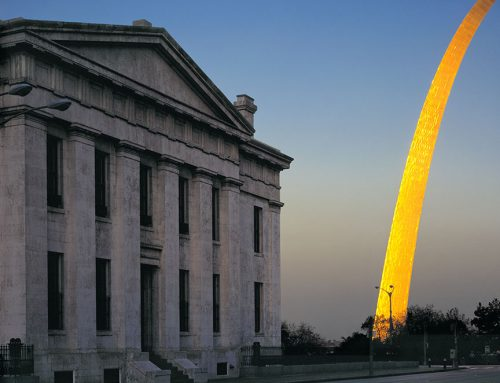 The Old Courthouse and the Arch, Sunset