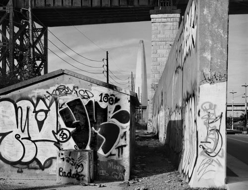 Graffiti, Flood Wall, and the Arch, Chouteau's Landing, 2017