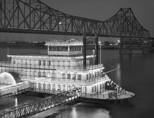 Belle Angeline Riverboat, Martin Luther King Bridge, Laclede's Landing, Night, 1985