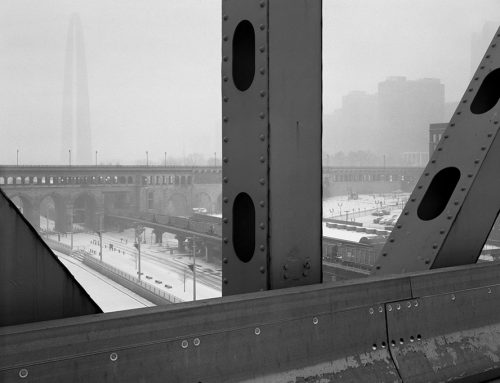 Arch, Laclede's Landing, Freight Train, Blizzard From the Martin Luther King Bridge, 2019