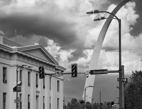 Arch and the Old Courthouse, Thunderstorm, 2020