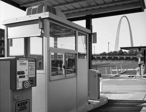 Parking Lot Booth and the Arch, Laclede's Landing, 2020
